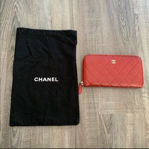 Auth. Large Red Chanel Lambskin Wallet✨